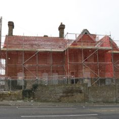 Little Carpenders scaffolded and ready for demolition