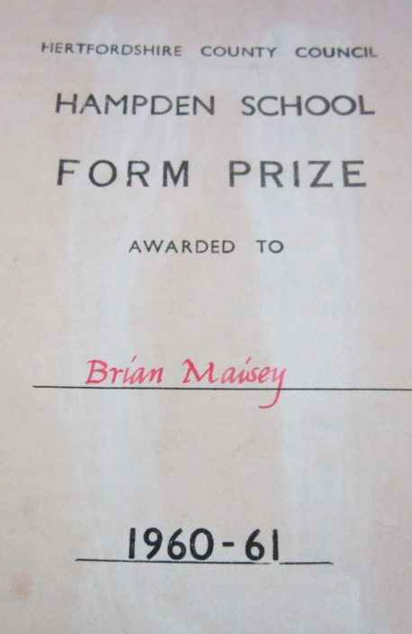 Brian Maisey Prize | Contributed By Brian Maisey