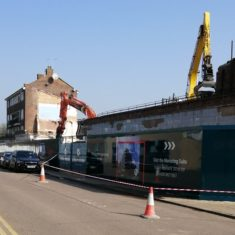 Demolition of shops and flats facing the Library in Bridlington Road