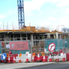Construction on Prestwick Road facing  Tesco