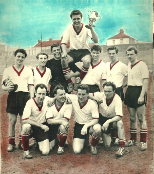 Prestwick FC -  Cup FInal - Challenge Cup- Back Row - Left to Right = Alan Patterson - Brian Reid - Colin Boote - Charlie Connors - Tom Bright - Ron Voss - John Benning. Front Row = Jimmy Pitt - ? - Bobby Dear - Peter Watt