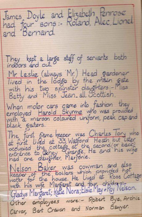 Oxhey Grange, Oxhey Lane, Watford - Elsie Wilson Memories Book