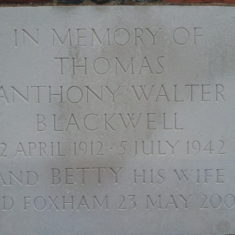 Memorial to Thomas Anthony Walter Blackwell | Llinos Thomas