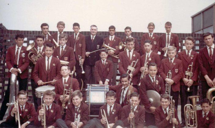 Clarendon School Brass Band with bandmaster Mr Roger Elliott | Bernard York - Photograph taken by George Denyer