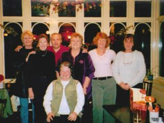 The ex Clarendon School friends still meet up - Left to right - Bernadette Steins (Tanner) - Brenda Spicer - Ron Oliver - Mo Dunning (Mills) Mary Perkins - Carole Banfield - December 2002