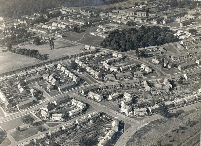 Aerial View 1953 showing Oxhey Wood School area - Prestwick Road - Woodhall Lane areas | Home Counties Newspapers at Watford Library P10714