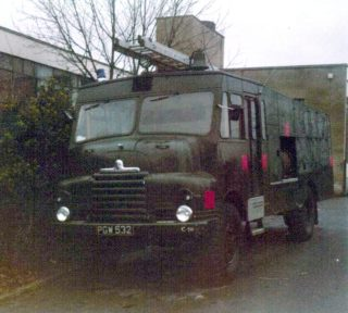 Army 'Green Goddess' Fire Engine at Clarendon School | F. Waller