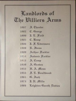 Landlords of the Villiers Arms