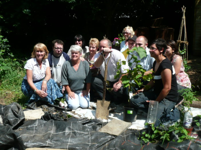 The first group of students with Jude from Farming for All and Louise from West Herts College
