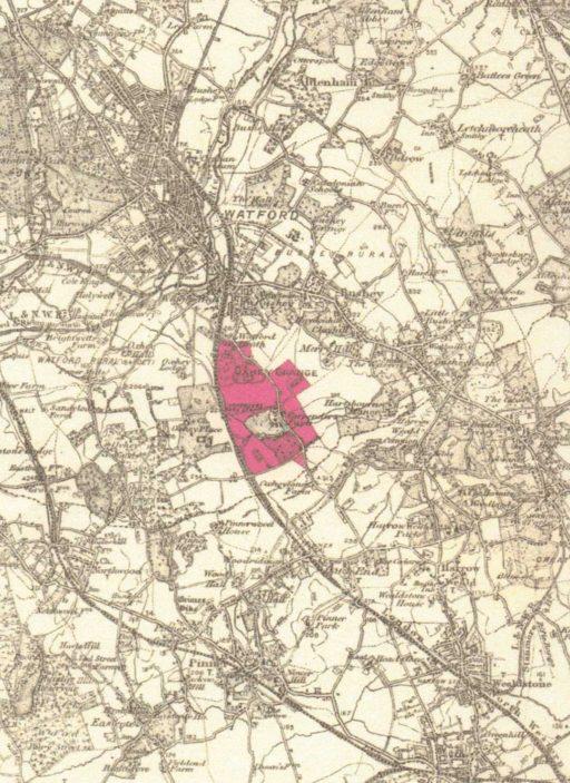 Map showing area of 'Oxhey Grange Estate' | Ordnance Survey - Original Sales Brochure 1932