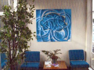 The Oxhey Wood 'Tree' Painting by Alison McLeod in the entrance lobby | S.Waller