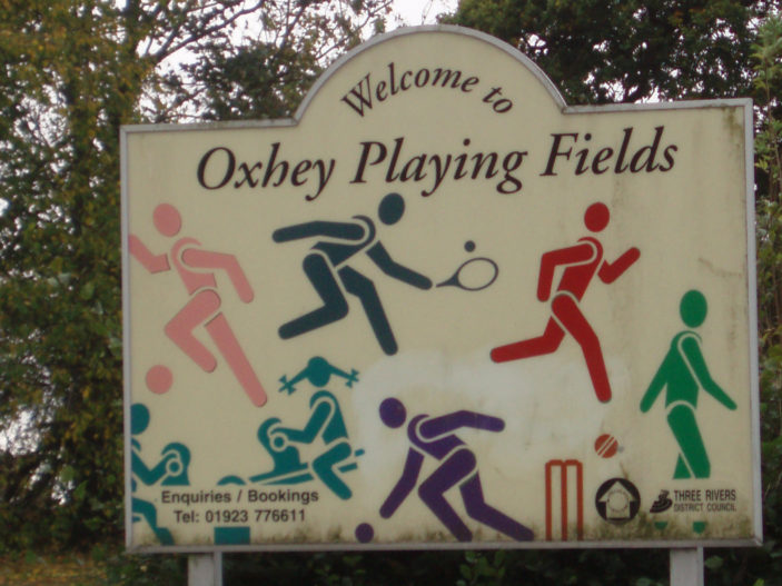 Sign at Oxhey Playing Fields | by Beverley Small