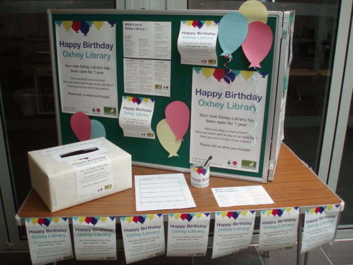 Happy birthday Oxhey library display | Beverly Small.