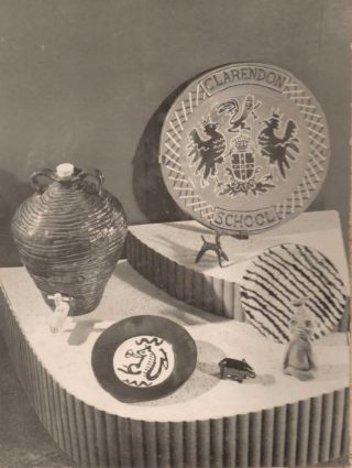Pottery Display at Clarendon School- 1950's