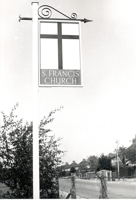 Sign Outside St Francis Church | Photograph Courtesy of Watford Library
