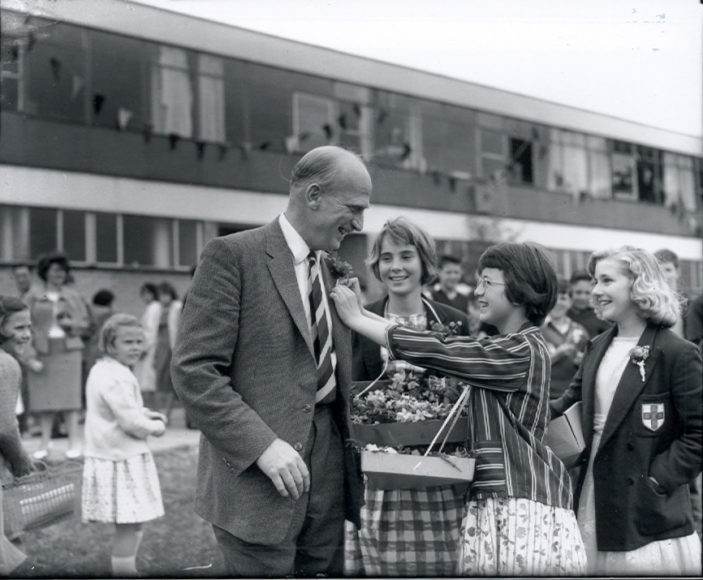 Who is this gentleman receiving a flower from a Clarendon School Pupil | © Watford Observer 1961
