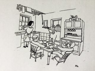 Being surprised by the cow at the back door!   Illustration by Ian Mackay